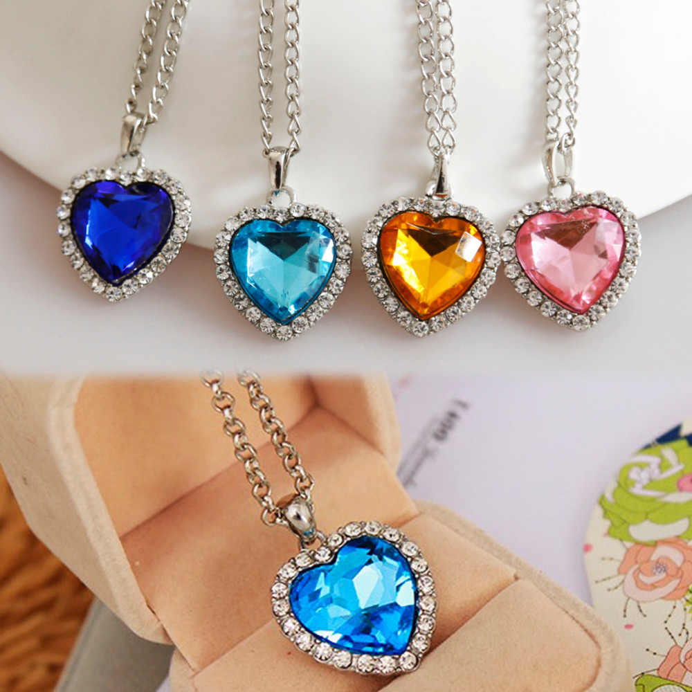 New Style Crystal Rhinestone Heart Shaped Pendant Necklace Blue Champagne Pink Fine Jewelry For Girls