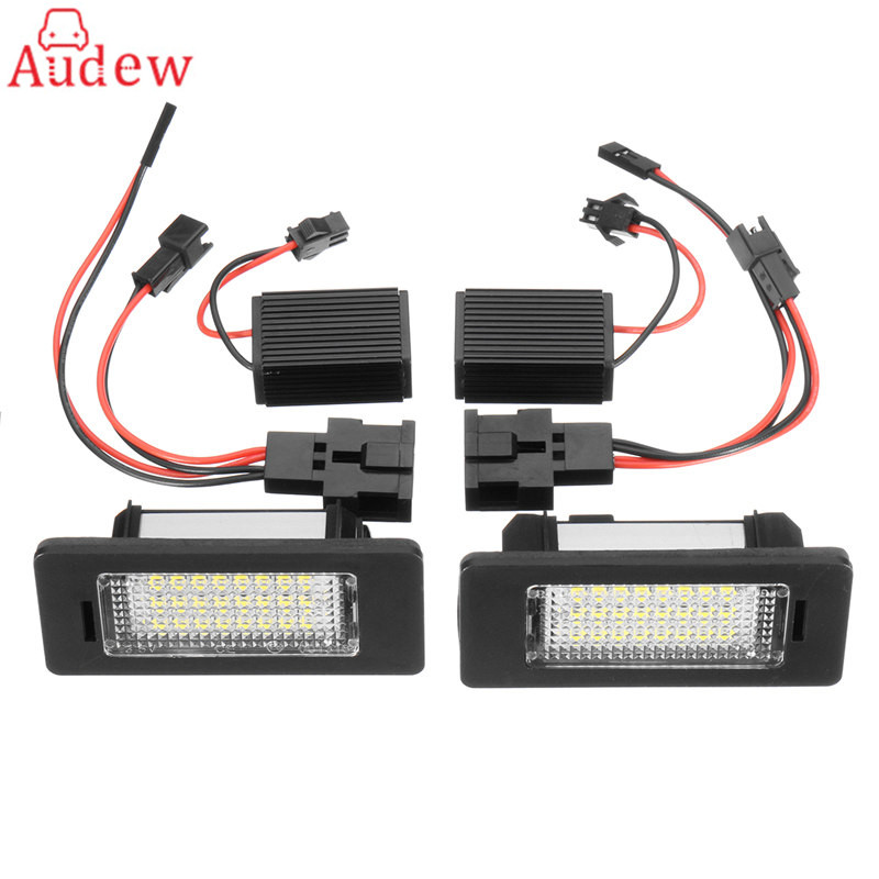 2Pcs Car LED License Number Plate Light Canbus NO error Decoder For Audi A4 A5 Q5 S5 for TT/VW Passat direct fit for kia sportage 11 15 led number license plate light lamps 18 smd high quality canbus no error car lights lamp page 8