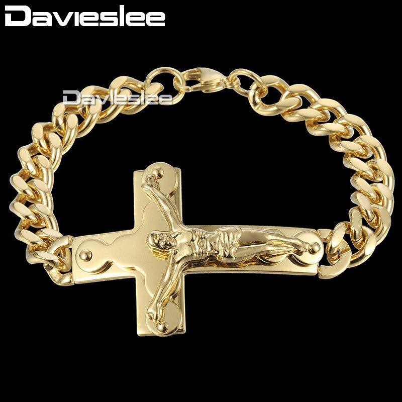 Davieslee 20cm crucifix Jesus Christ Cross Charm Mens Bracelet Curb Cuban Link Chain Stainless Steel Bracelet Gold Color DKB547