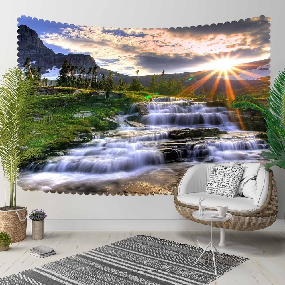 Else Green Nature Grass Blue River Sun Set Shine  3D Print Decorative Hippi Bohemian Wall Hanging Landscape Tapestry Wall Art