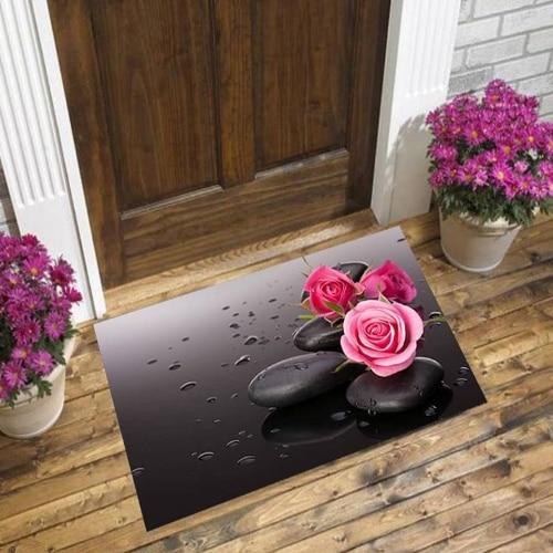 Else Black Floor On Pink Roses Flowers Spa Stones 3d Pattern Print Anti Slip Decorative Floor Door Mat Home Entryway Livingroom
