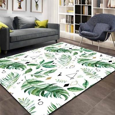 Else Green Tropical Floral Triangle Geometric 3d Print Non Slip Microfiber Living Room Decorative Modern Washable Area Rug Mat