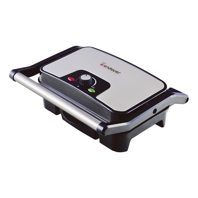 Гриль-пресс Endever Grillmaster 210 (Мощность 2100 Вт, терморегулятор (100-220 град), внутреннее антипригарное покрытие, световой индикатор нагрева, Размеры рабочей поверхности 28*17)