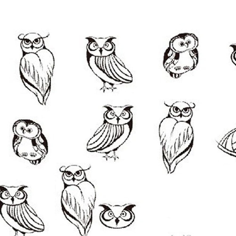 2PC/SET Black Owl Printing Nail Art Decals 1sheet Water