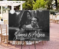 Welcome To Our Wedding,Personalized Photo Wedding Welcome Sign,Custom Entrance Welcome Wedding Sign,Engagement Bride Shower Sign