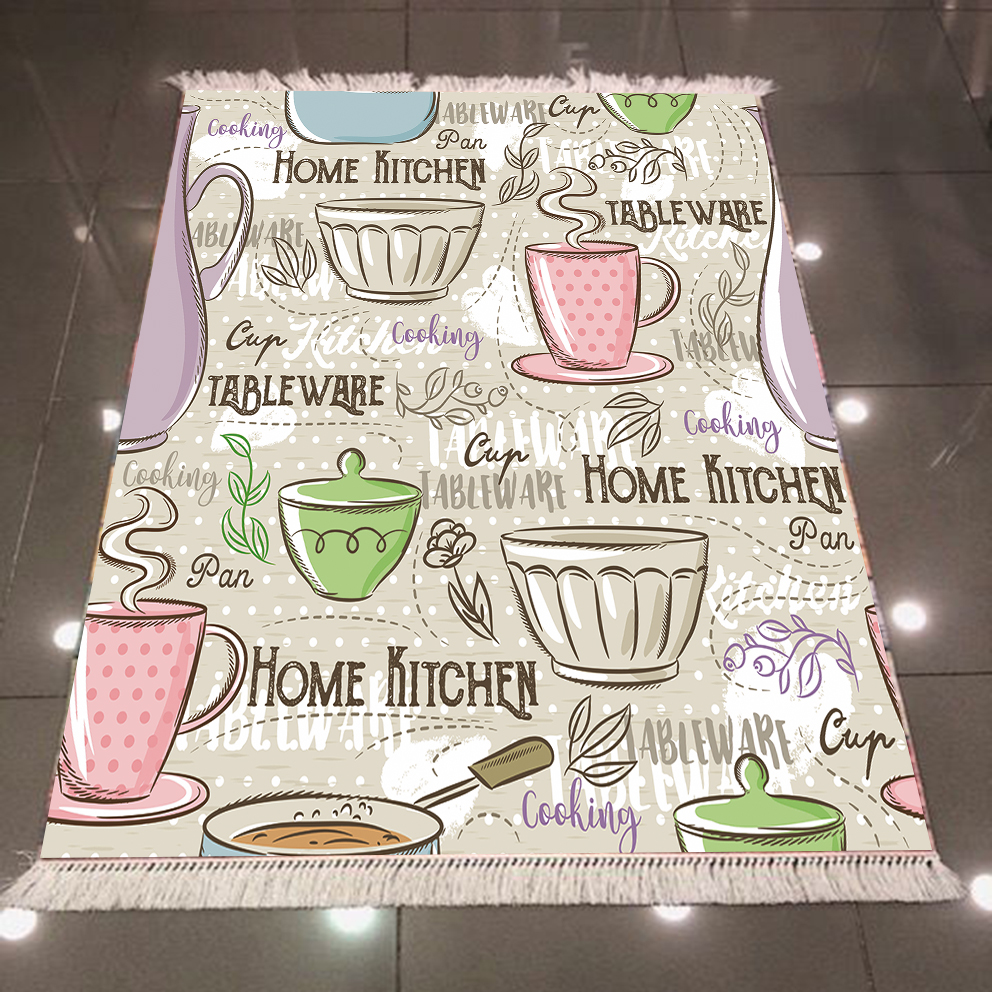 Else Gray Floor Green Pink Blue Tea Coffee Cups 3d Print Microfiber Anti Slip Back Washable Decorative Kitchen Area Rug Carpet