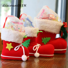 Big High Quality Christmas Decorations Flocking Boots Socks Creative Gift Box of Candy Gift Holder