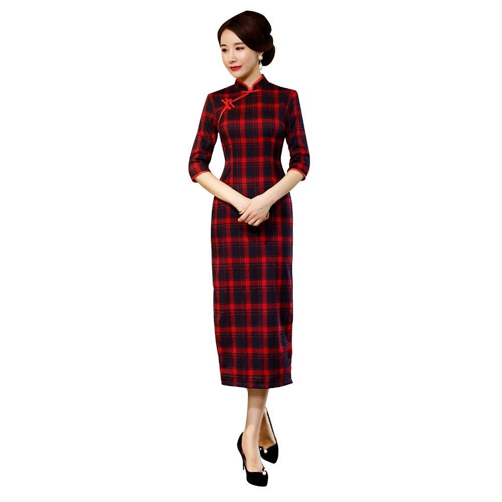 Shanghai Story 2019 New Sale Cotton Qipao Long Chinese Dress Plaid Cheongsam Lattice Qipao Dress For Women Packing Of Nominated Brand