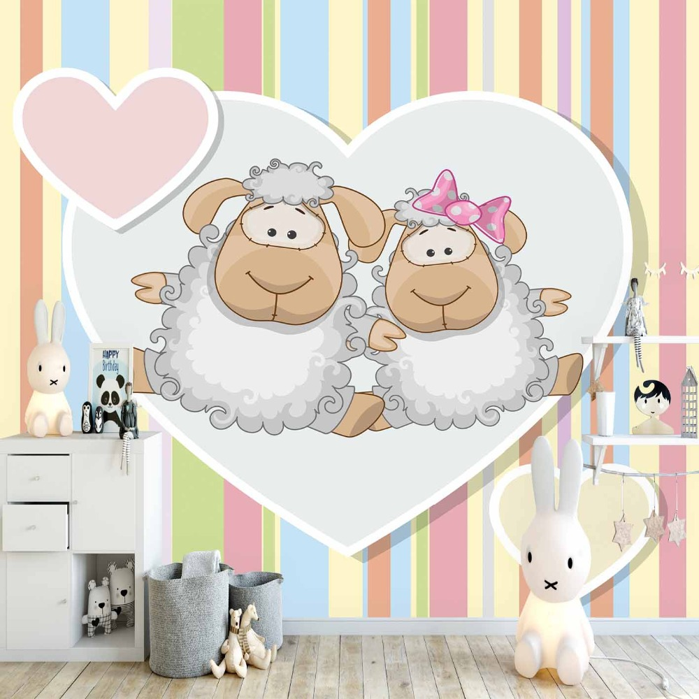 Else Pink Yellow Stripes Lines Heart Lamp Animal 3d Print Cartoon Cleanable Fabric Mural Kids Children Room Background Wallpaper