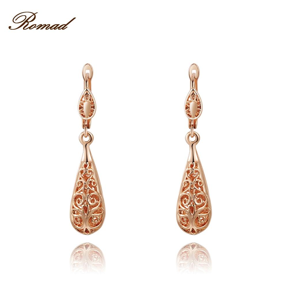 Fashion Design Bohemia Stud Earrings Wonderful Rose Gold Color Hollow Out Flower Pattern Water Drop Shaped Earrings Women