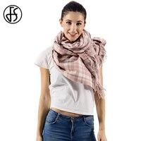 FS Winter Schal Für Frauen Kaschmir Schals Tartan Quaste Doppelseitige 2017 Luxusmarke Lange Wolle Schals Wraps Echarpe Pashmina