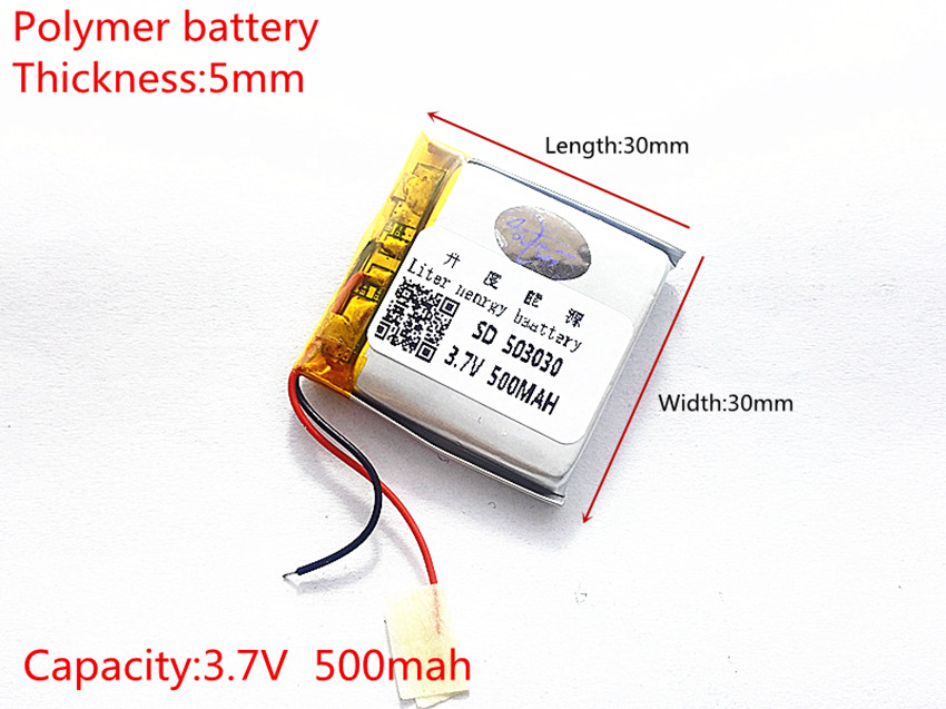 Polymer lithium ion <font><b>battery</b></font> <font><b>3.7</b></font> V,<font><b>500mah</b></font> 503030 053030 CE FCC ROHS MSDS quality certification image