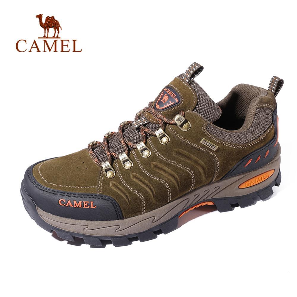 CAMEL Men Women Hiking Shoes Genuine Leather Durable Anti Slip Warm Breathable Outdoor Mountain Climbing Trekking