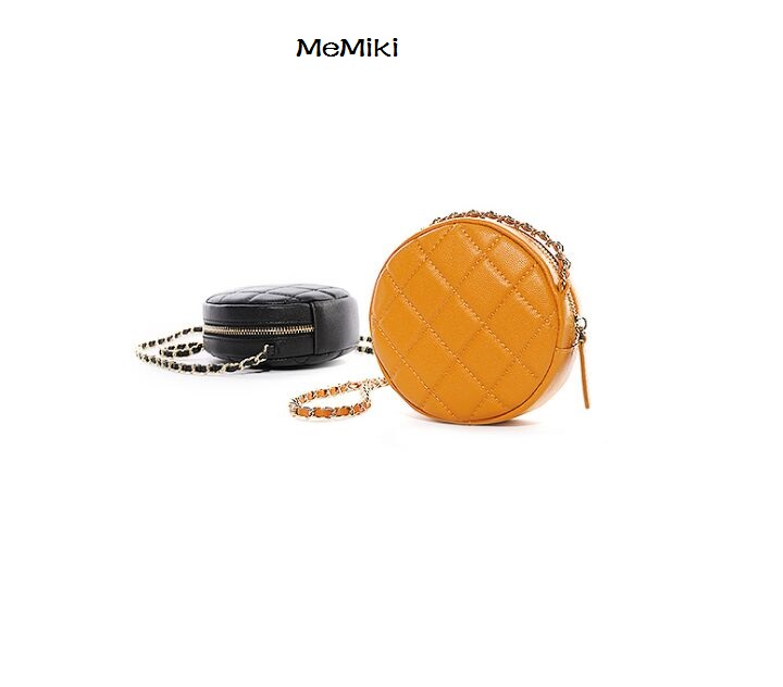 HOT 2019 fashion women genuine leather handbag chains circular bag diamond lattice cross body mini bag