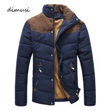 DIMUSI Winter Jacket Men Warm Casual Parkas Cotton Stand Collar Winter Coats Male Padded Overcoat Outerwear Clothing4XL YA332 cheap Regular Standard 850g Broadcloth Polyester Cotton Pockets Zipper None Solid Down Parkas Conventional