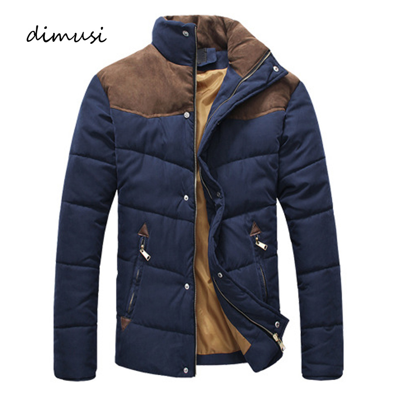 DIMUSI Winter Jacket Men Warm Casual Parkas Cotton Stand Collar Winter Coats Male Padded Overcoat Outerwear