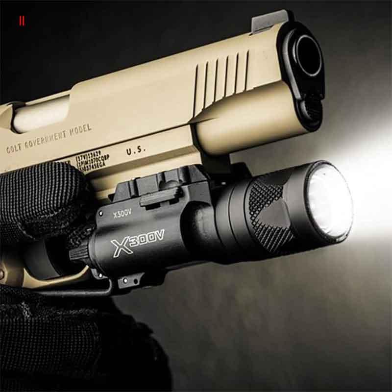 Tactical X300V Pistol Flashlight Strobe Weapon Light LED 500 Lumen Handgun Airsoft Hunting Shooting Rail X300