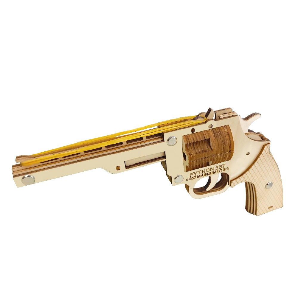 Semi-auto Rubber Band Revolver wooden toys Wooden Shooting Toy Guns Boys Outdoor Fun Sports For Kids