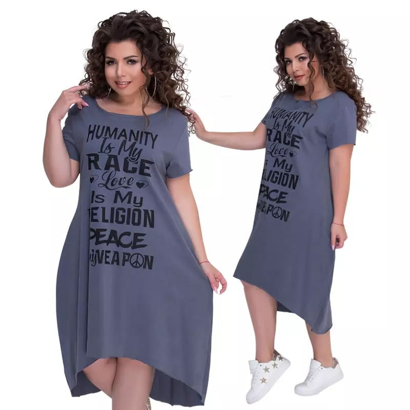 Plus Size Letters Printed Short Sleeve Mid Calf Dress Vestidos L 6Xl Big Size Casual Irregular Loose Dress Women Autumn Dresses photo review