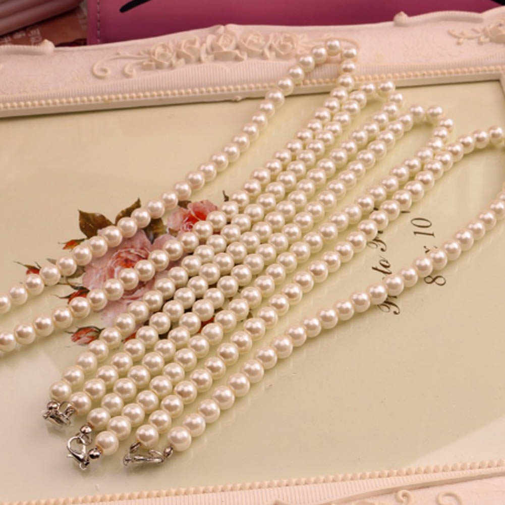 Fashion Jewelry White Imitation Freshwater Pearl Necklace For Women 40cm Classic Peal Beads Necklace Wholesale Price