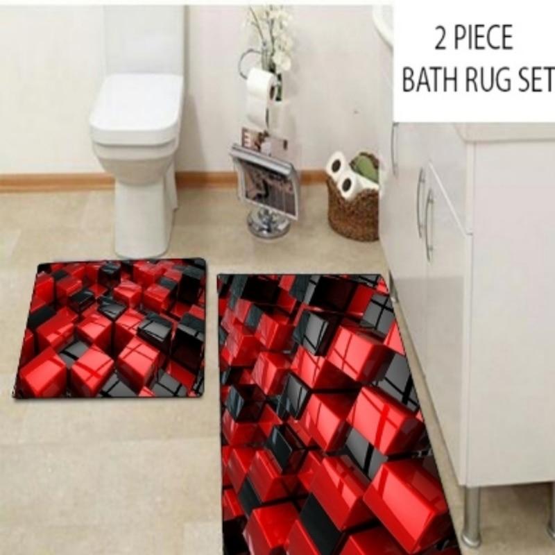 Autres rouge noir abstrait Cubes boîtes moderne 2 pièces 3d motif impression tapis de bain antidérapant doux lavable tapis de salle de bain tapis de toilette