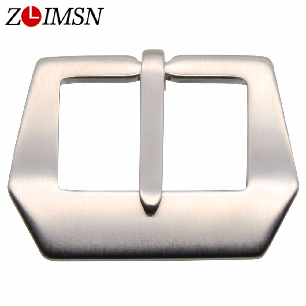ZLIMSN Solid Watch Buckle Silver Brushed 20 22 24 26 28mm Stainless Steel Clasp For Leather Watchband Belt Accessories Promotion