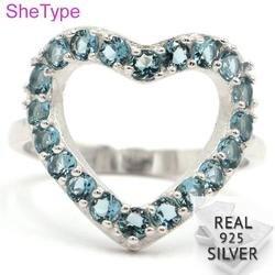 SheType элегантное кольцо из серебра 925 пробы с синим топазом в форме сердца, подарок для сестры, 20x18 мм, 3,43 г