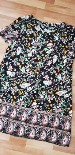 Plus Size Multicolor Floral And Paisley Print Tunic Dress  Women Summer Boho Shift Short Sleeve Round Neck Dresses photo review