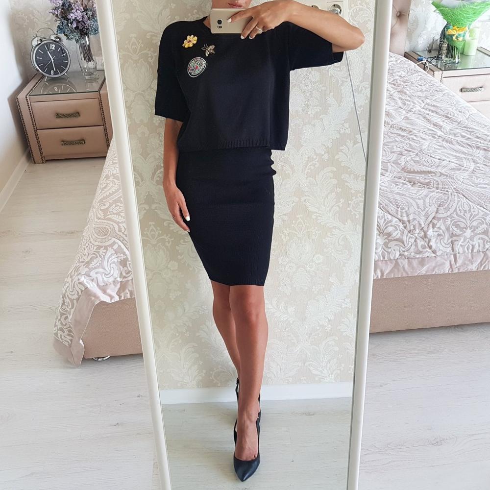 Трикотажный костюм юбка+джемпер с вышитой аппликацией с Алиэкспресс