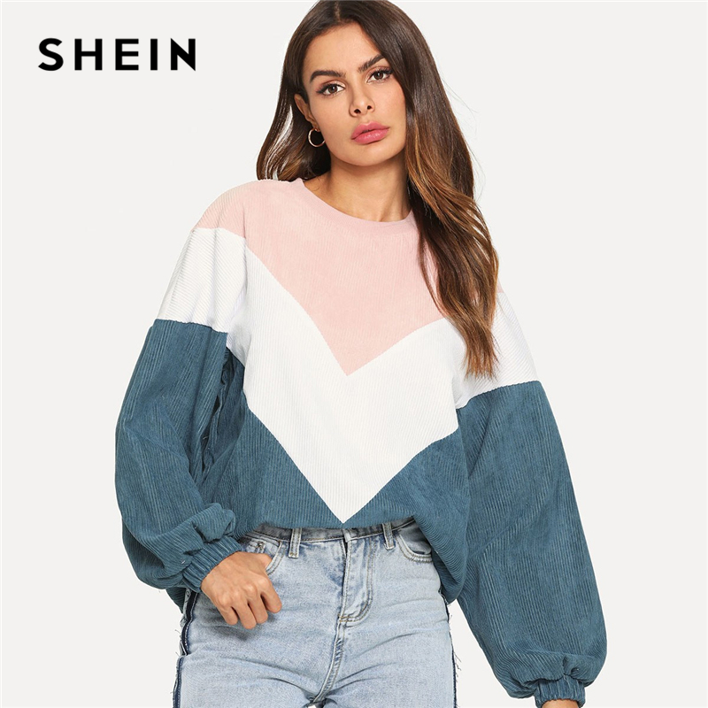 SHEIN Multicolor Cut And Sew Chevron Sweatshirt Preppy Round Neck Bishop Sleeve Pullovers Women Autumn Colorblock Sweatshirts