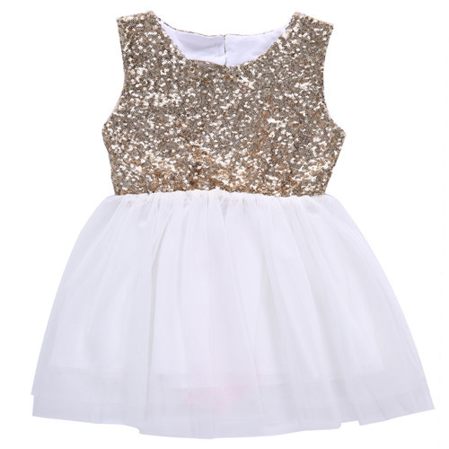 3-10Y Toddler Kid Baby Girl Summer Cotton Sleeveless O-neck Sequins Backless Princess Party Bow Ball Gown Dress Outfits Clothes cute sleeveless sequins embellish multilayered girl s ball gown dress