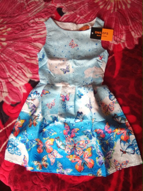 Hot sales Summer Girls Dress Butterfly Floral Print Princess Teenagers Dress For Girls Party Kids children dress Vestido 6-12Y