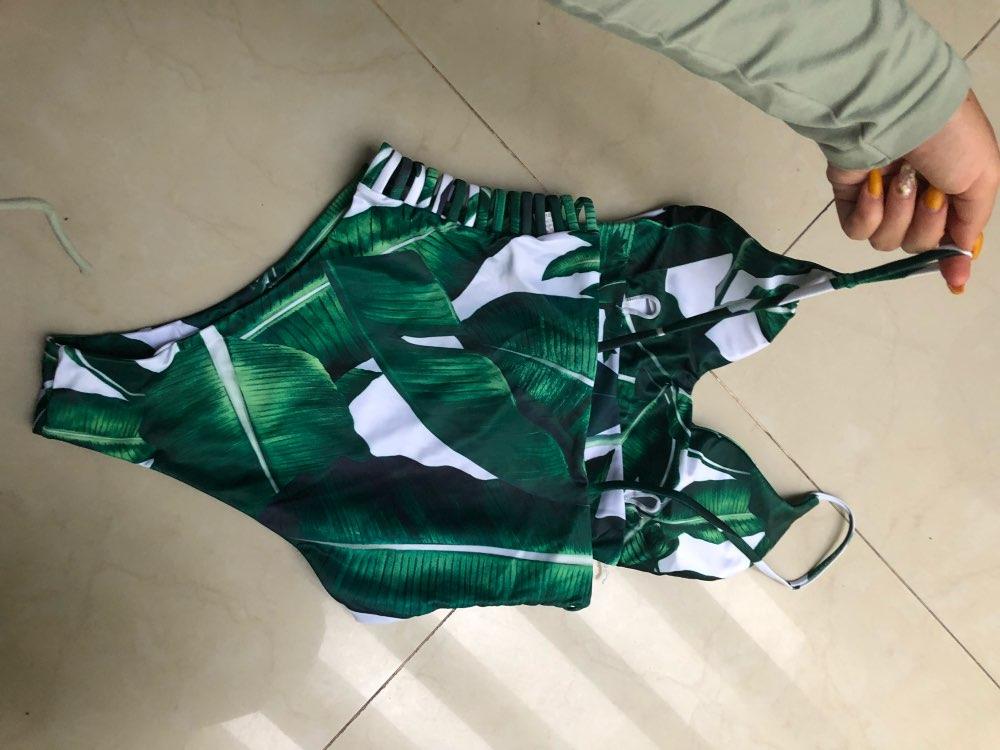 Belleziva сексуальный купальник один кусок женщин купальники листьев печати выдалбливают купальный костюм бинты боди Монокини Ползунки Купальщица