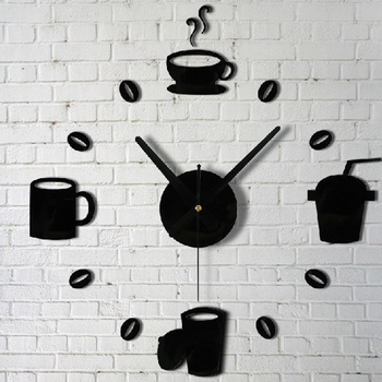 20 PCS/Set Quartz clocks fashion Stickers Coffee Cups Kitchen Wall Art-Free Shipping For Kitchen Clock Wall Stickers mirror wall stickers