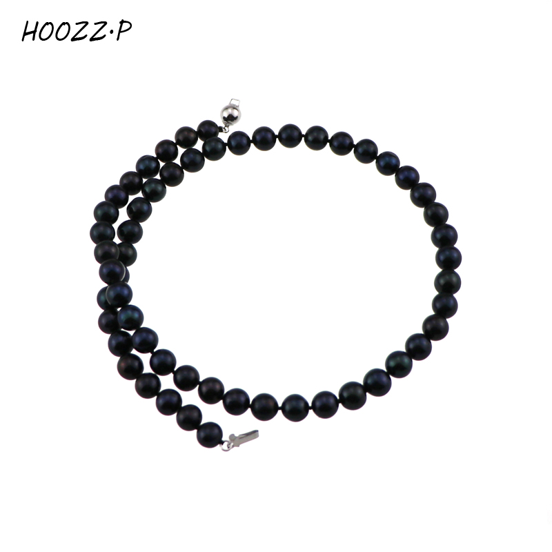 HOOZZ.P Handpicked High Quality Black Freshwater Cultured Pearl Necklace Classic Princess Necklace for women цена и фото