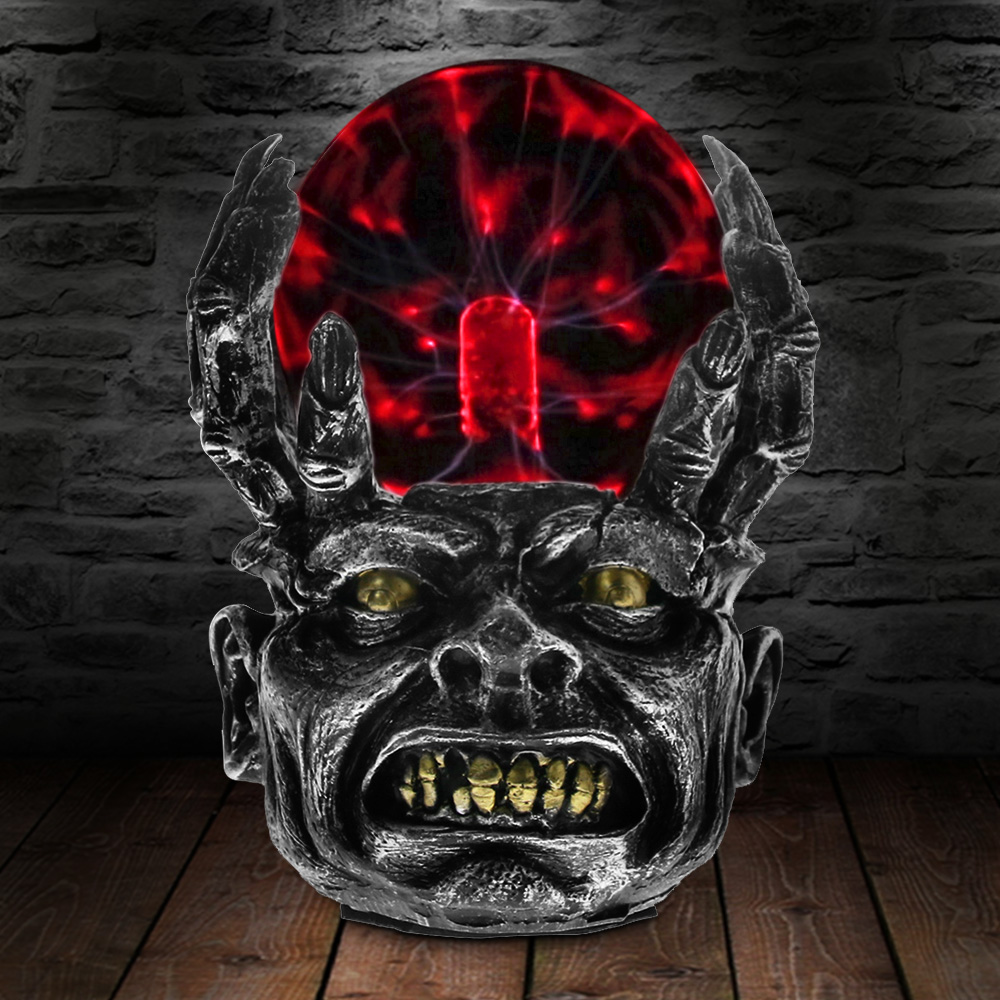 Claw Holding Skull Plasma Ball Lamp Magic Creative Lighting Resin Handicrafts Skull Statue Holiday Decoration Gifts