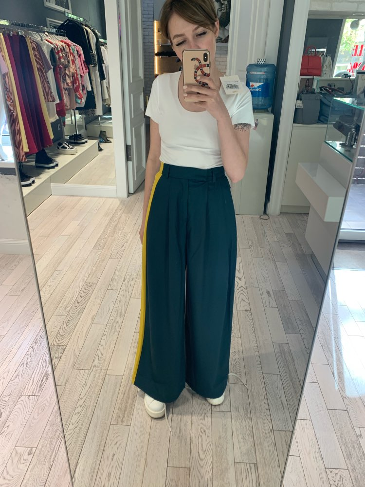 Casuale Hit Color Long Trousers Women High Waist Big Size Long Wide Leg Pants Female Spring Fashion photo review