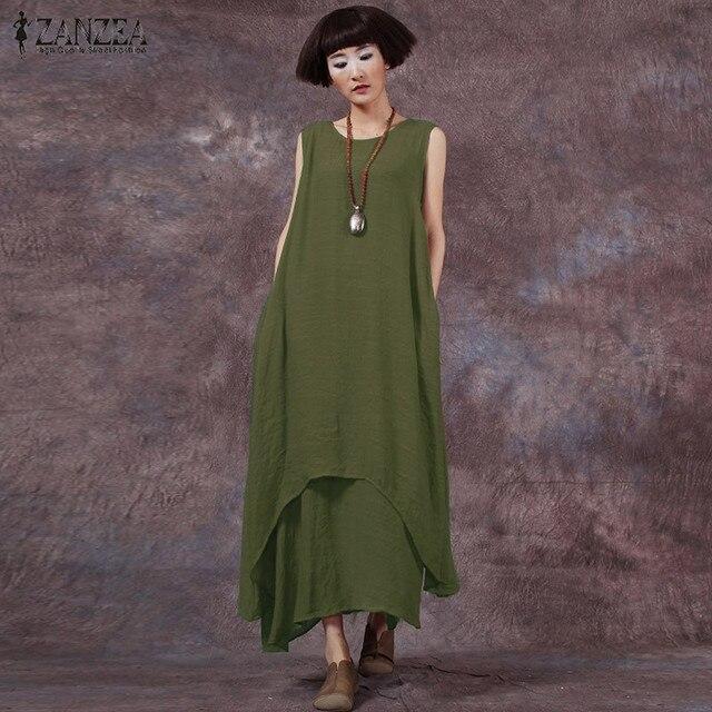 eceeb413f27863 ZANZEA Summer Women Dress 2018 Vintage Casual Loose Cotton Linen Long Maxi  Dresses Sexy Sleeveless Female Vestidos Plus Size