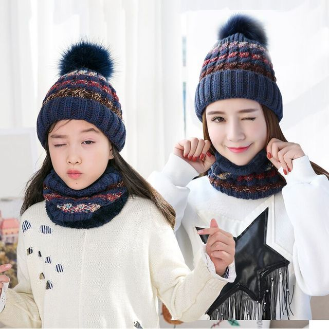 Fashionable autumn winter warm wool beanies wholesale Colorful striped  collar cap Knitted hat scarf children mother head wear 4829334bdef7