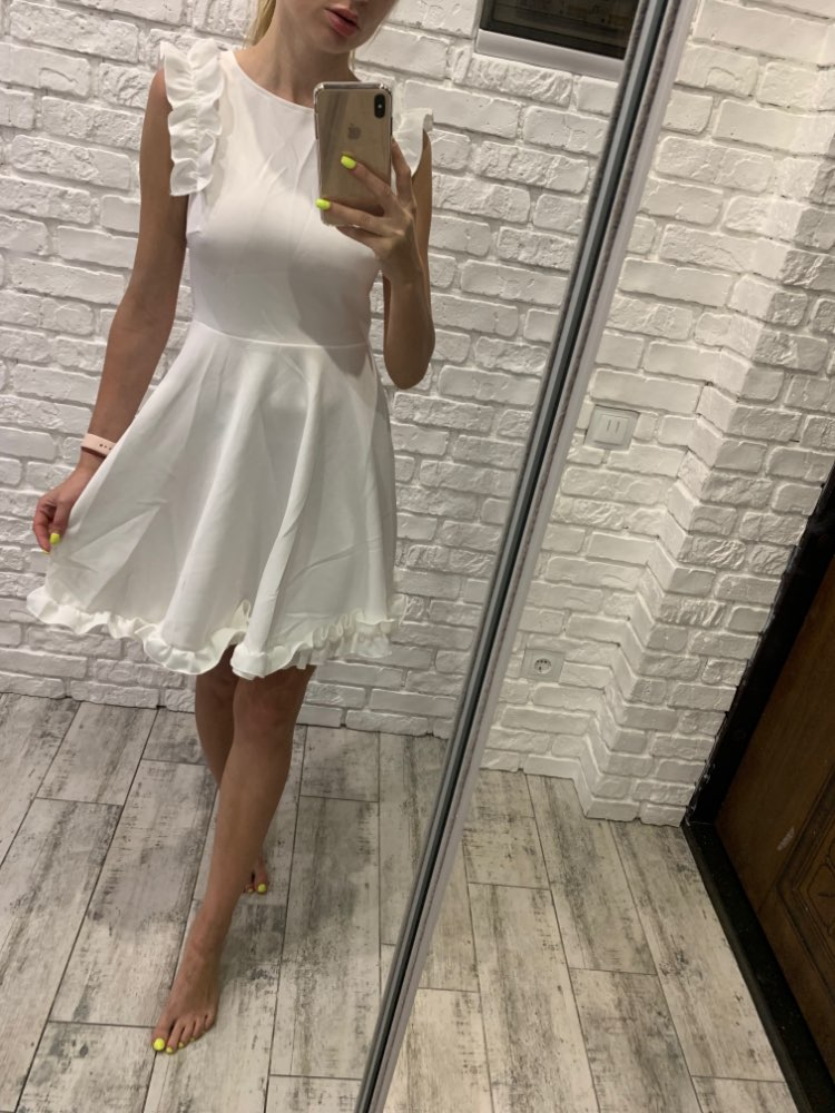 Backless Ruffle Women White Dress Casual Vestidos Elegant Pleated Summer Dress High Waist Sexy Short Party Dresses photo review