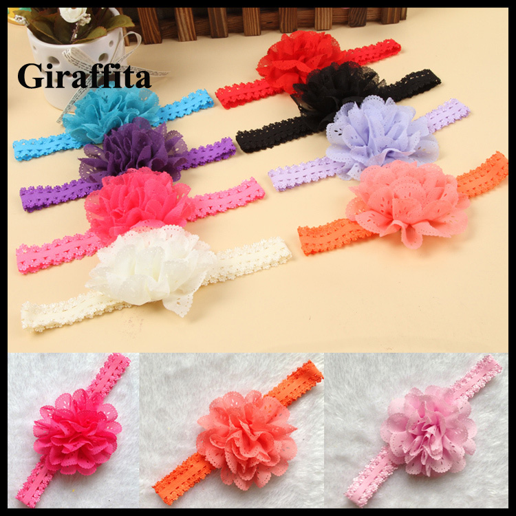 Fashion Girl Lace Flower Hair Band Headband Hairband Hair Accessories 12 Colors Drop Shipping free shipping 2 colors newborn kid girl elastic flower headband hairband hair accessories