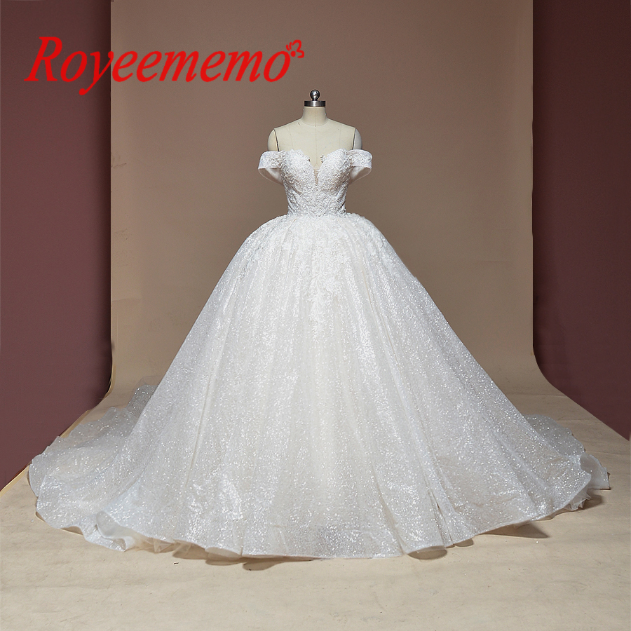 new lace ball gown wedding dress shiny wedding gown custom made factory wholesale price royal train