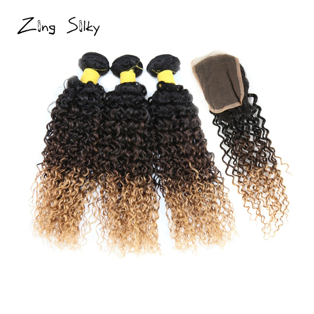 Brazilian Remy Kinky Curly Human Hair Weave 3 Bundles With 4*4 Lace Closure Natural Ombre Hair Extension Zing Silky Hair Vendors