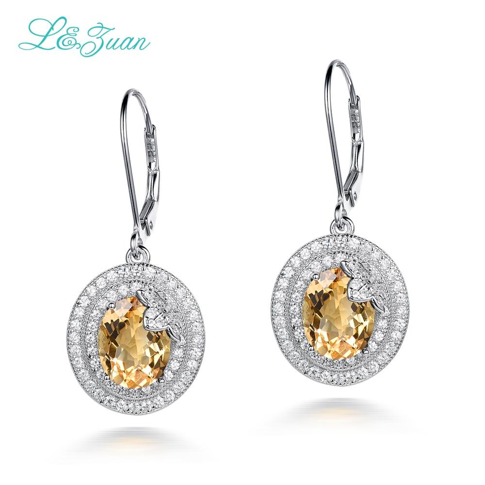 I&zuan 925 Silver Drop Earrings 4.66ct Yellow natural Yellow Stone Citrine Romantic Fine Jewelry Gift топ женский insight citrine yellow