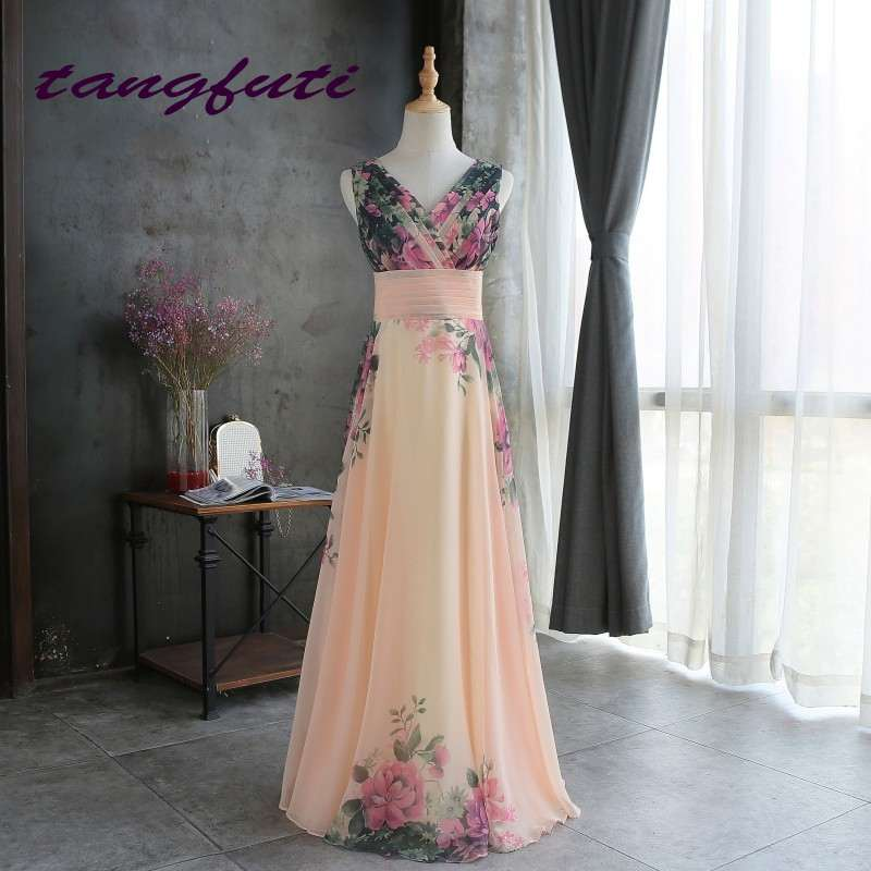Cheap Evening Dresses Floral Print Evening Party Dress Long Chiffon Formal Evening Dress Gown Party Prom