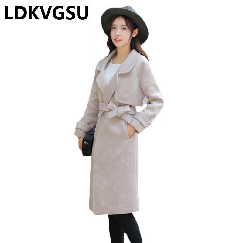 Womens Long Woolen Coat 2018 Spring Autumn New Korean Belt Slim Black And Mise Casual Large Size Female Wool Coat Is314