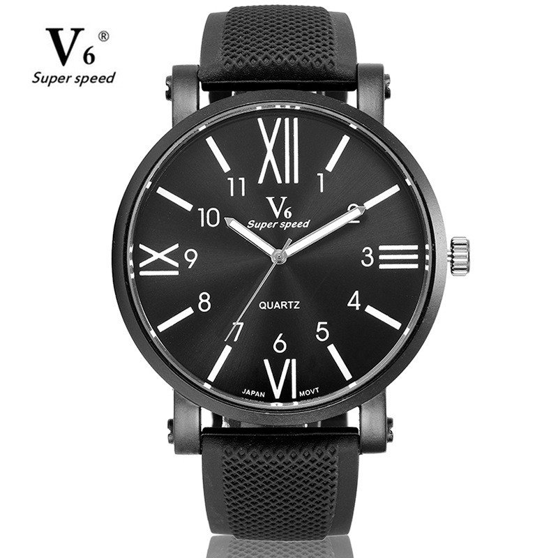 V6 Men's Quartz-Watch Stainless Steel Rubber Band Black Watch Big Size Sport Military Men Casual Watch Relogio Masculino chiyuan cr v6 6 plastic stainless steel plier black