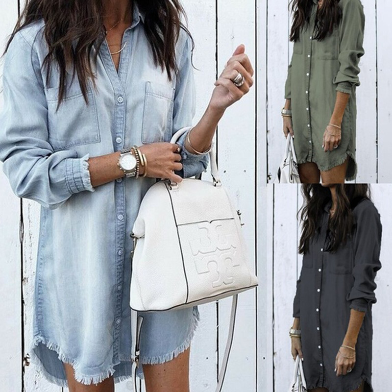 Women Long Sleeve Jean Blouse Denim Shirt Dress Female Plus Size Turndown Shirts Summer Lady Casual Vintage Office Tops