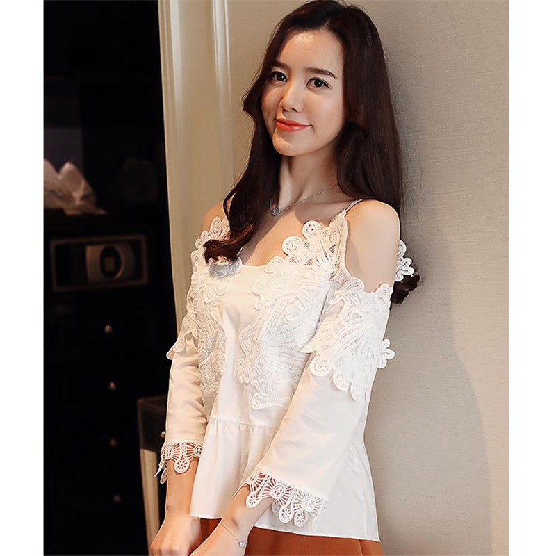 White Off Shoulder Shirt Hollow Arrival Cm2629 2018 Fashion Casual New Women Chiffon Out Lace Elegant Sexy Girls Blouses Tops EwSqxP0x7