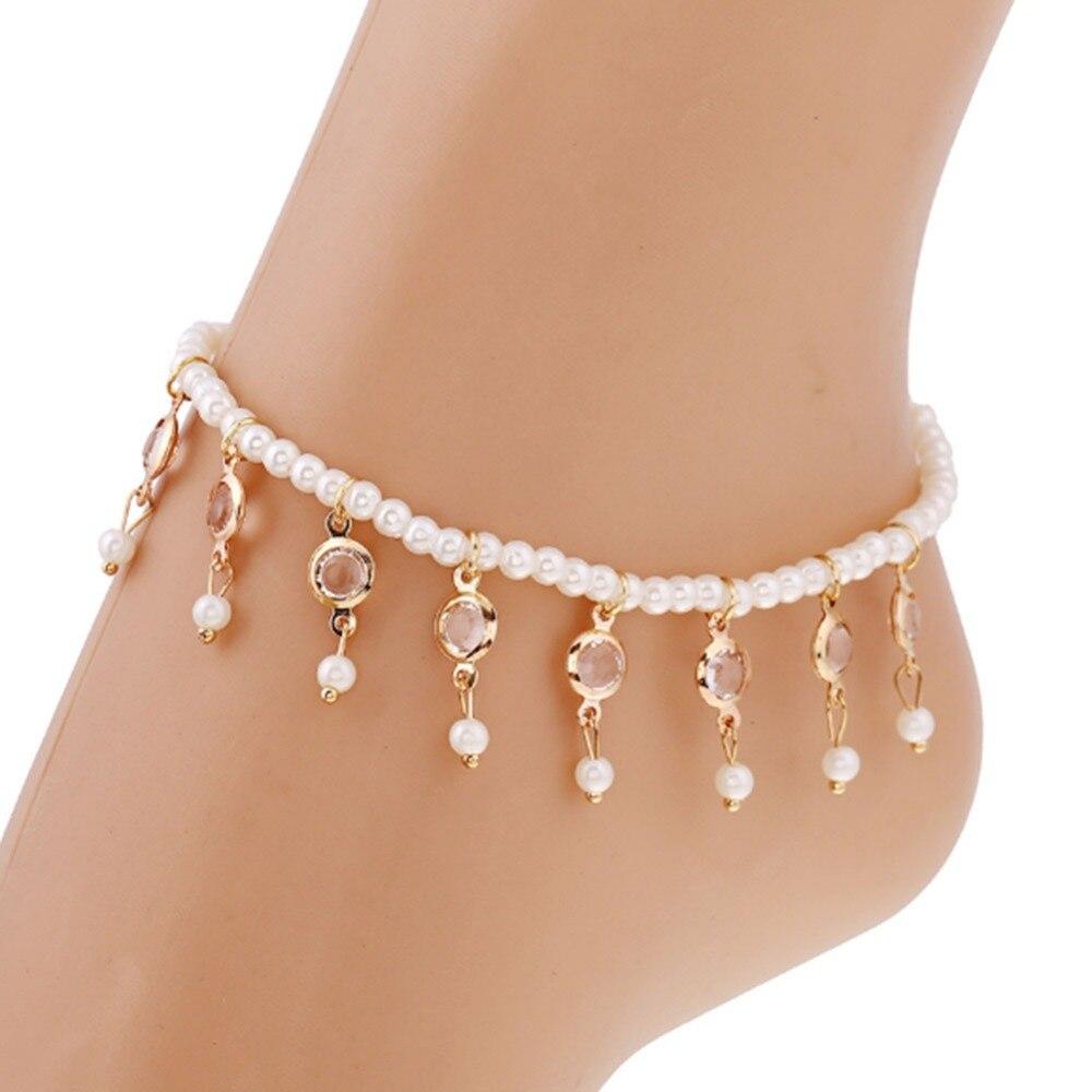 Genossenschaft Sommer Neue Ankunft Heiße Perle Armband Am Bein Imitationsperle Fashion Kristall Quasten Elastische Knöchel Kette Frauen Bein Kette
